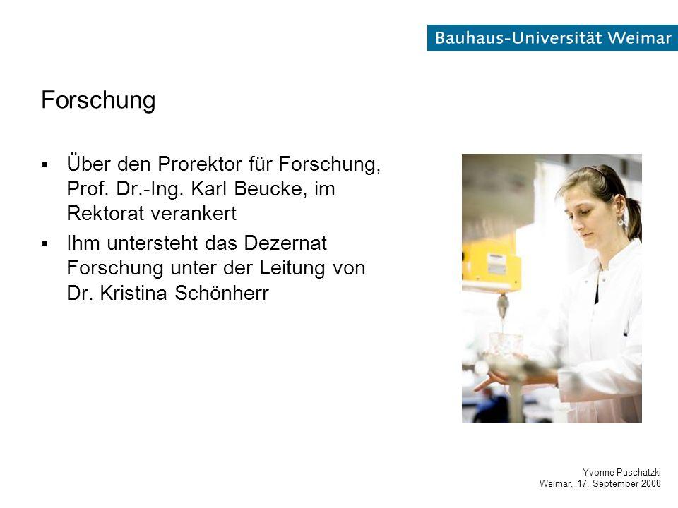 Yvonne Puschatzki Weimar, 17. September 2008 Forschung  Über den Prorektor für Forschung, Prof.