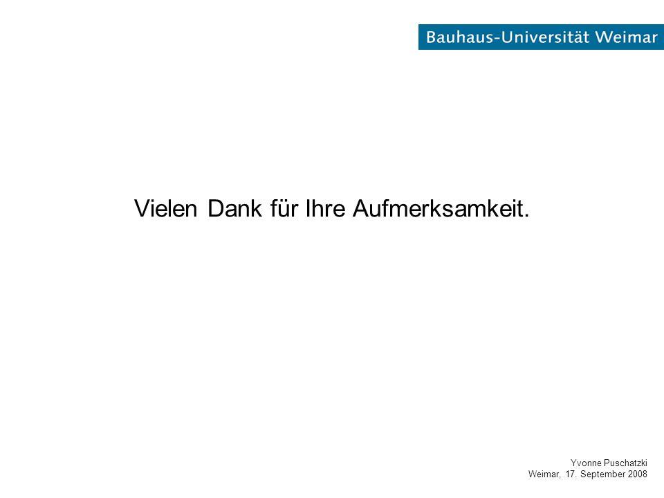 Yvonne Puschatzki Weimar, 17. September 2008 Vielen Dank für Ihre Aufmerksamkeit.
