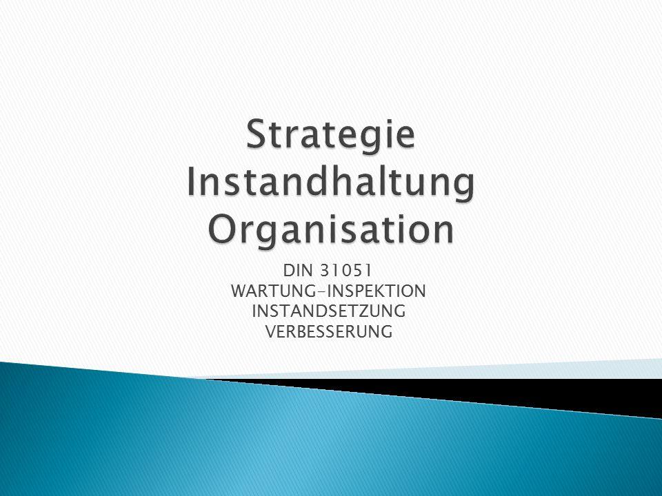Instandhaltungs- organisation Instandhaltungs- konzept Wie hoch ist der Anteil von geplanter und störungsbedingter IH.