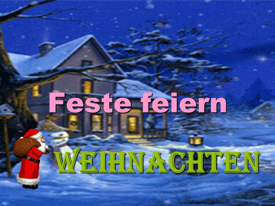 Sammelt die Sätze  In jedem, Haus, aufgestellt, ein, Weihnachtsbaum, wird, am Vorabend, geschmückter.