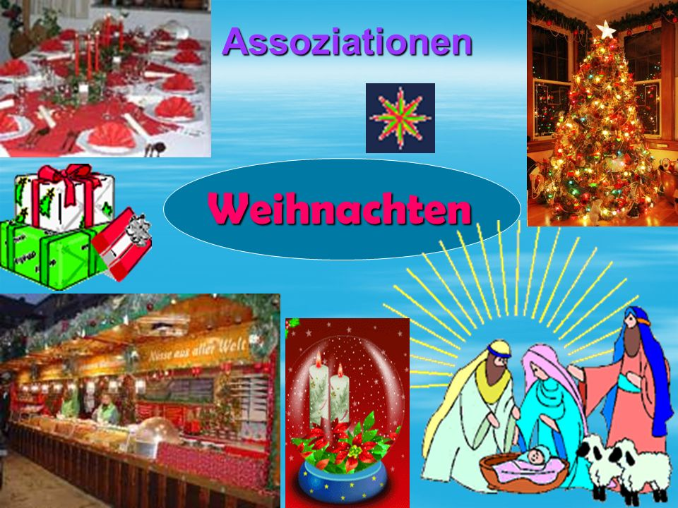 Sammelt die Sätze  versammelt sich, die ganze Familie, die Geschenke, am Weihnachtsbaum, verteilt, das heiβt, und, die Bescherung.