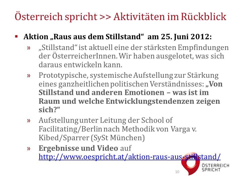 """Österreich spricht >> Aktivitäten im Rückblick  Aktion """"Raus aus dem Stillstand"""" am 25. Juni 2012: » """"Stillstand"""" ist aktuell eine der stärksten Empf"""