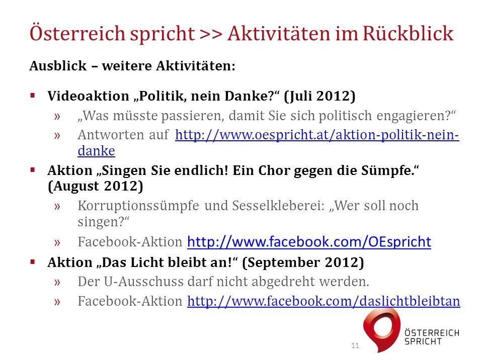 """Österreich spricht >> Aktivitäten im Rückblick Ausblick – weitere Aktivitäten:  Videoaktion """"Politik, nein Danke (Juli 2012) » """"Was müsste passieren, damit Sie sich politisch engagieren » Antworten auf http://www.oespricht.at/aktion-politik-nein- dankehttp://www.oespricht.at/aktion-politik-nein- danke  Aktion """"Singen Sie endlich."""