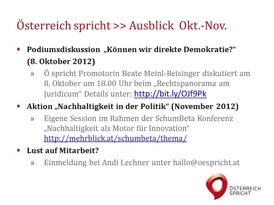 """Österreich spricht >> Ausblick Okt.-Nov.  Podiumsdiskussion """"Können wir direkte Demokratie?"""" (8. Oktober 2012) » Ö spricht Promotorin Beate Meinl-Rei"""