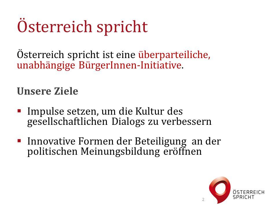Österreich spricht ist eine überparteiliche, unabhängige BürgerInnen-Initiative. Unsere Ziele  Impulse setzen, um die Kultur des gesellschaftlichen D