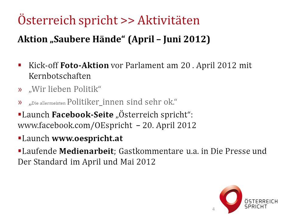 """Österreich spricht >> Aktivitäten Aktion """"Saubere Hände"""" (April – Juni 2012)  Kick-off Foto-Aktion vor Parlament am 20. April 2012 mit Kernbotschafte"""