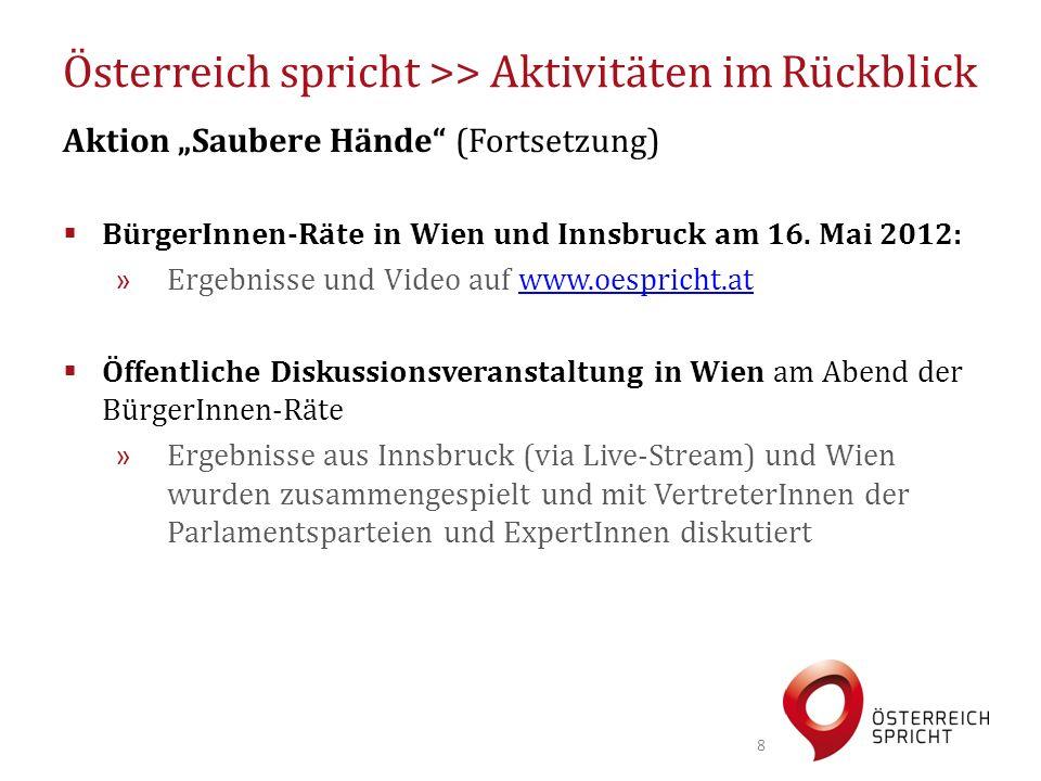 """Österreich spricht >> Aktivitäten im Rückblick Aktion """"Saubere Hände"""" (Fortsetzung)  BürgerInnen-Räte in Wien und Innsbruck am 16. Mai 2012: » Ergebn"""