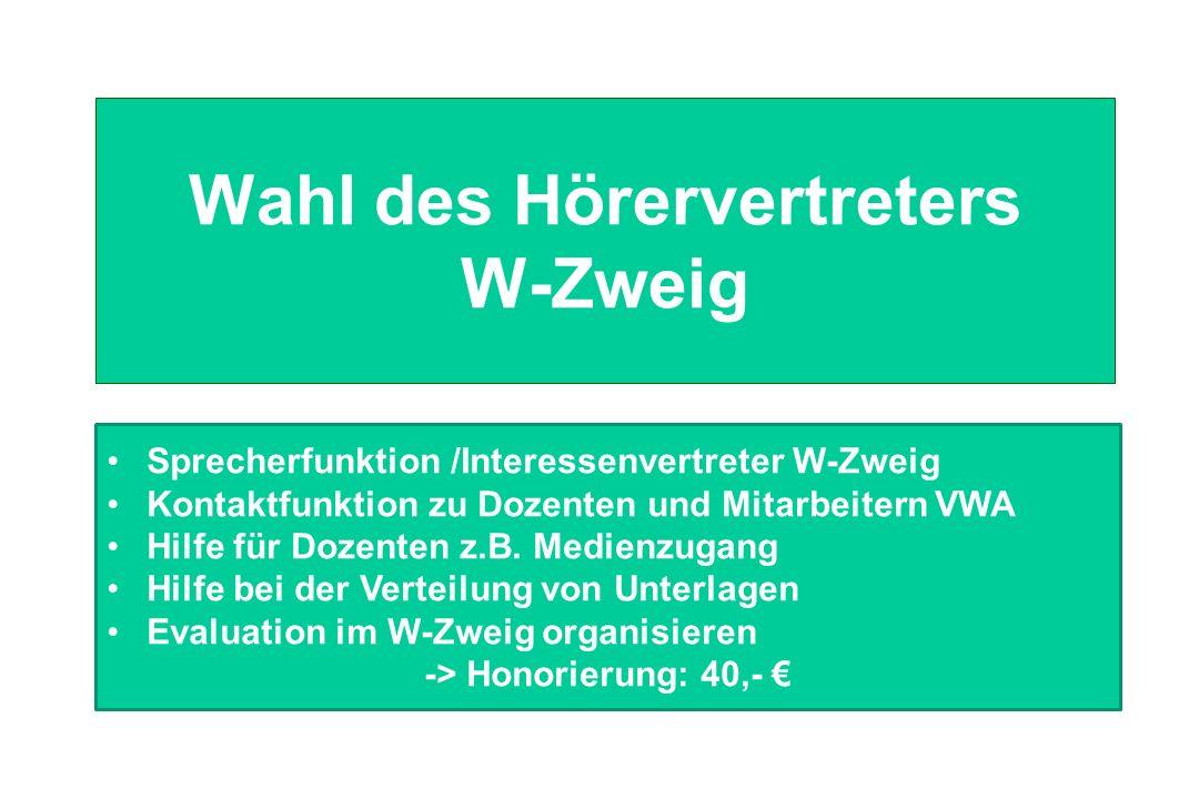 Wahl des Hörervertreters W-Zweig Sprecherfunktion /Interessenvertreter W-Zweig Kontaktfunktion zu Dozenten und Mitarbeitern VWA Hilfe für Dozenten z.B.