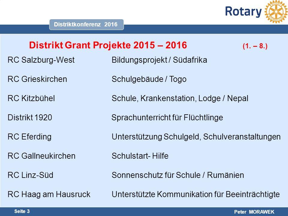 Harald Marschner Seite 3 Peter MORAWEK Distriktkonferenz 2016 Distrikt Grant Projekte 2015 – 2016 (1.