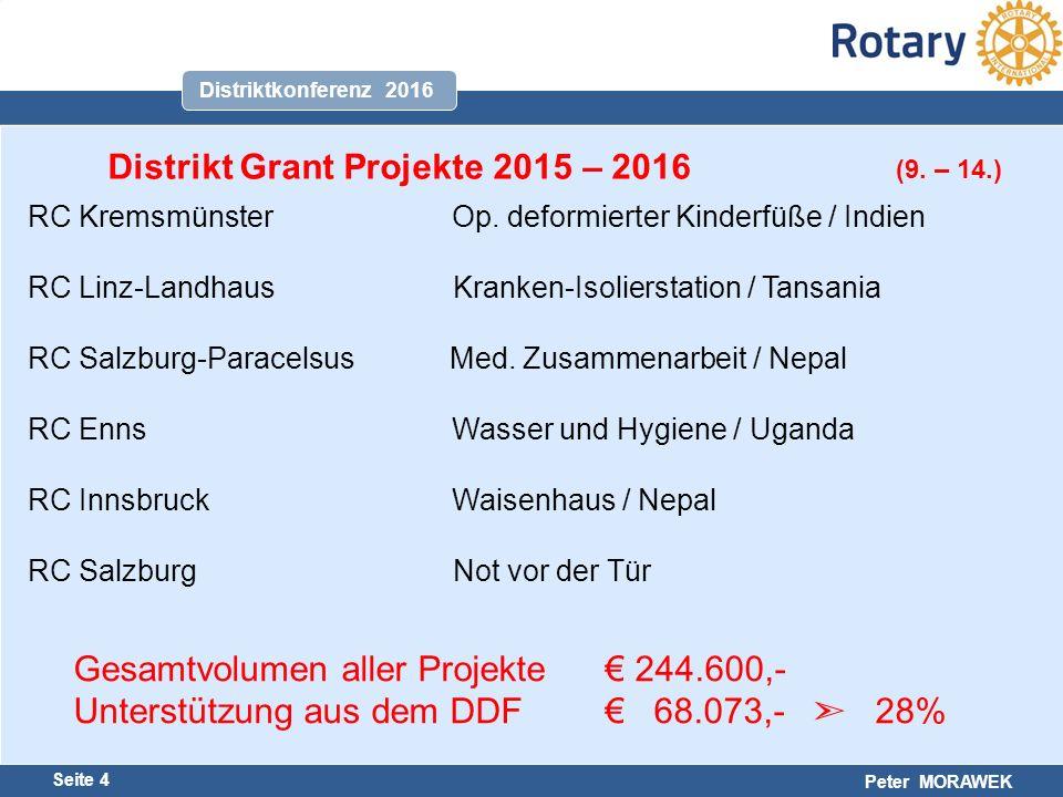 Harald Marschner Seite 4 Peter MORAWEK Distriktkonferenz 2016 RC Kremsmünster Op.