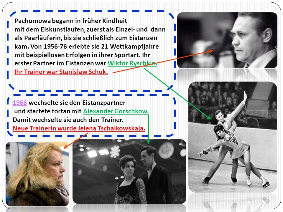 1966 wechselte sie den Eistanzpartner und startete fortan mit Alexander Gorschkow. Damit wechselte sie auch den Trainer. Neue Trainerin wurde Jelena T