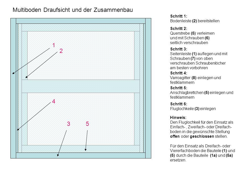 1 2 4 5 3 Multiboden Draufsicht und der Zusammenbau Schritt 3: Seitenleiste (1) auflegen und mit Schrauben (7) von oben verschrauben Schraubenlöcher am besten vorbohren Schritt 1: Bodenleiste (2) bereitstellen Schritt 2: Querstrebe (5) verleimen und mit Schrauben (6) seitlich verschrauben Schritt 6: Fluglochkeile (3) einlegen Schritt 4: Varroagitter (8) einlegen und festklammern Schritt 5: Anschlagbrettchen (5) einlegen und festklammern Hinweis: Den Fluglochkeil für den Einsatz als Einfach-, Zweifach- oder Dreifach- boden in die gewünschte Stellung offen oder geschlossen stellen.