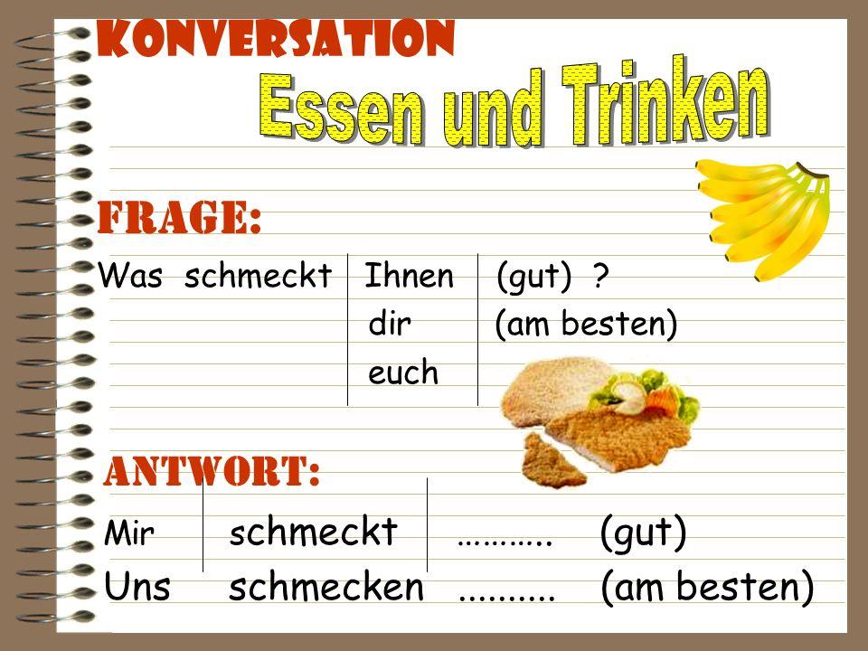 Konversation Antwort: Ich esse gern ……..*.
