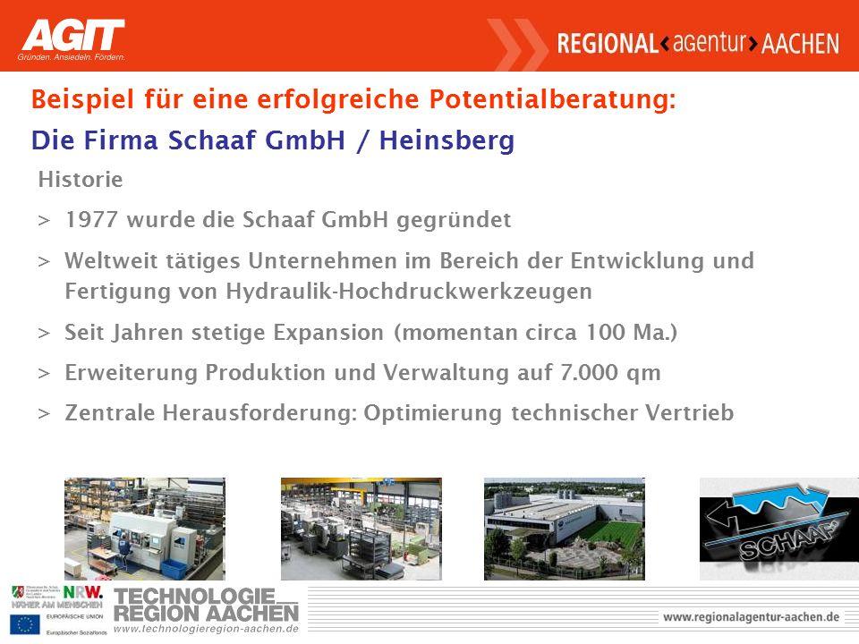 Beispiel für eine erfolgreiche Potentialberatung: Die Firma Schaaf GmbH / Heinsberg Historie >1977 wurde die Schaaf GmbH gegründet >Weltweit tätiges Unternehmen im Bereich der Entwicklung und Fertigung von Hydraulik-Hochdruckwerkzeugen >Seit Jahren stetige Expansion (momentan circa 100 Ma.) >Erweiterung Produktion und Verwaltung auf 7.000 qm >Zentrale Herausforderung: Optimierung technischer Vertrieb