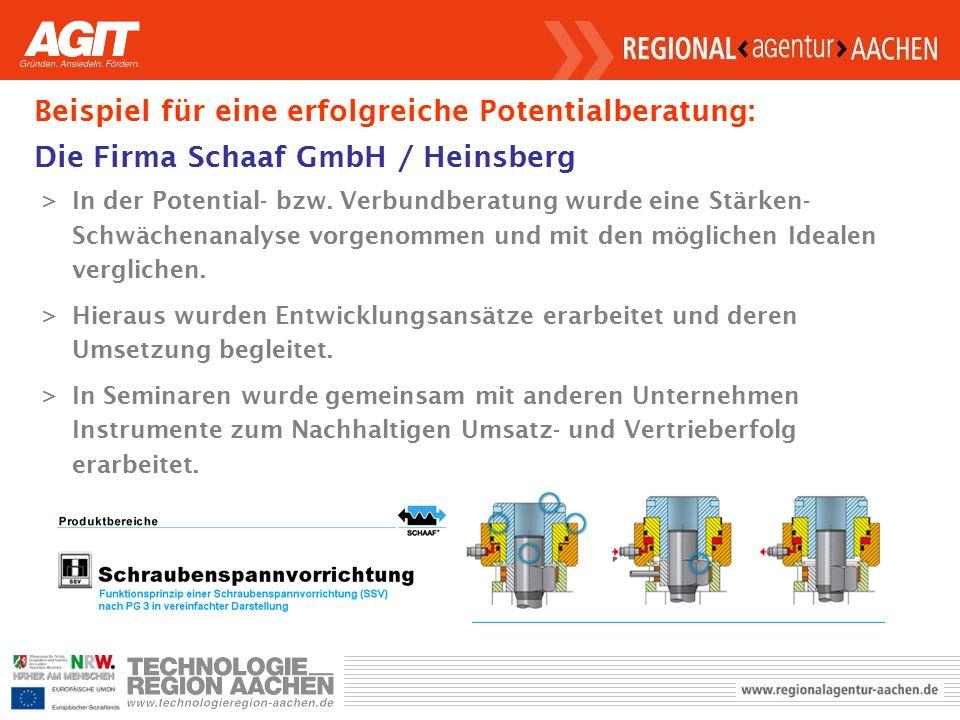 Beispiel für eine erfolgreiche Potentialberatung: Die Firma Schaaf GmbH / Heinsberg >In der Potential- bzw.