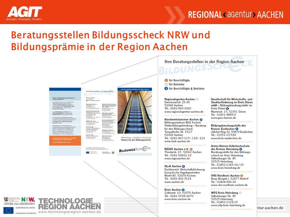 Beratungsstellen Bildungsscheck NRW und Bildungsprämie in der Region Aachen