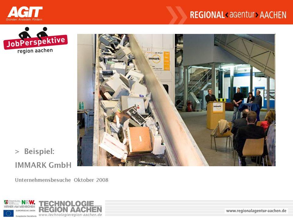 >Beispiel: IMMARK GmbH Unternehmensbesuche Oktober 2008