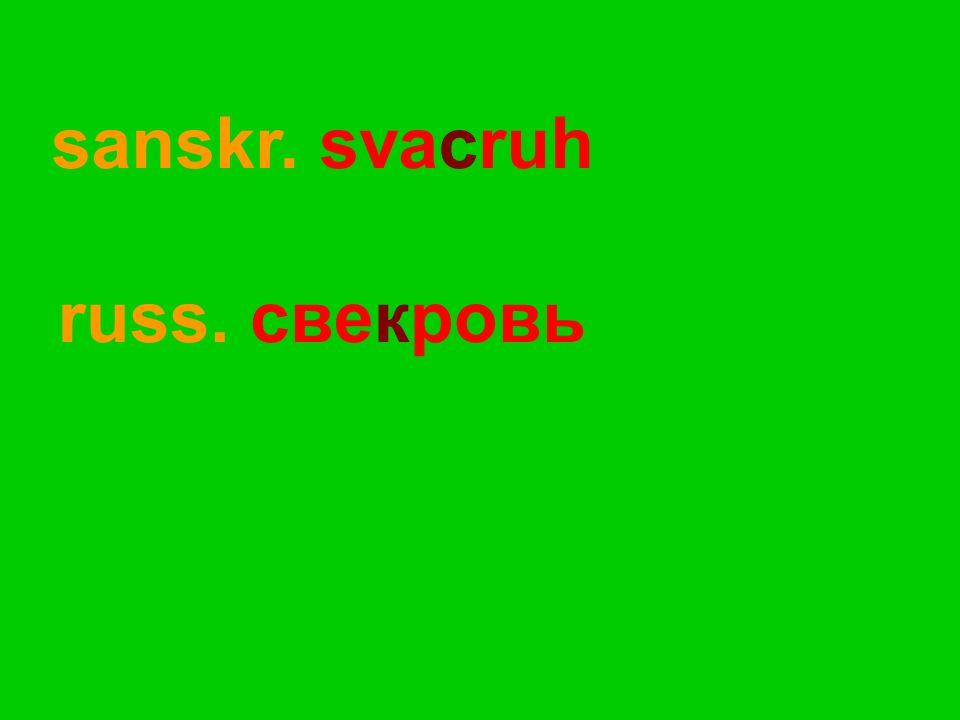 russ. свекровь sanskr. svacruh