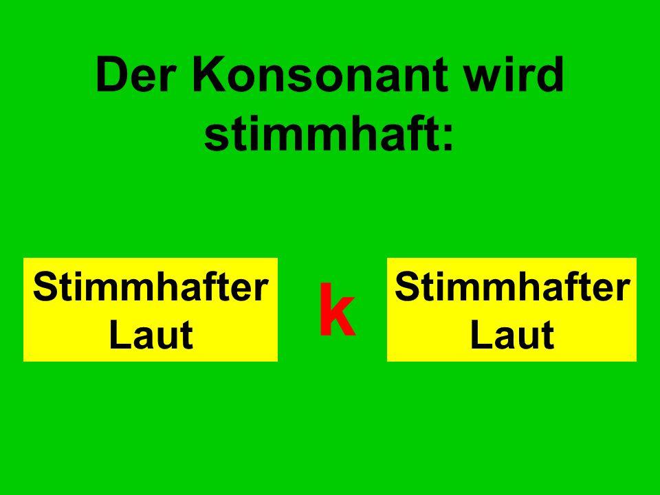 Der Konsonant wird stimmhaft: Stimmhafter Laut k