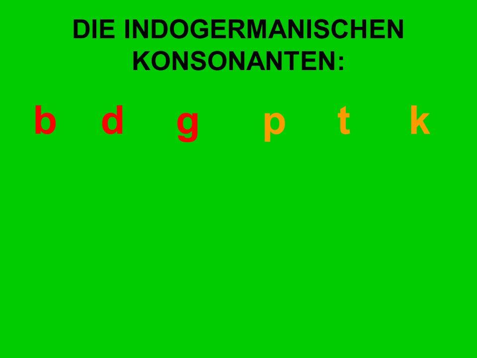 DIE INDOGERMANISCHEN KONSONANTEN: bd gp t k