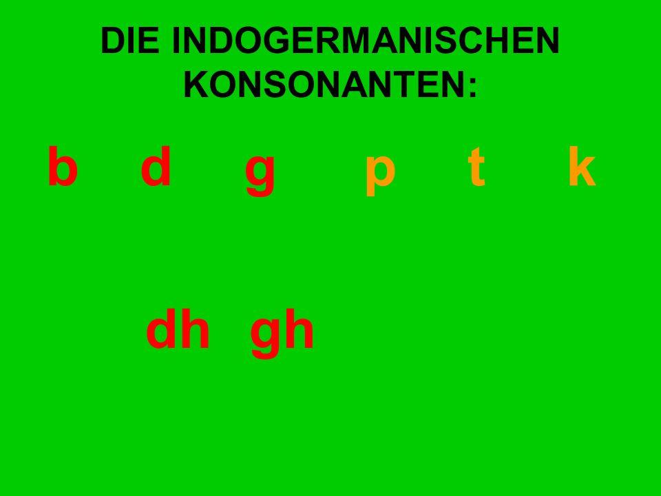 DIE INDOGERMANISCHEN KONSONANTEN: bd gp t k dhgh