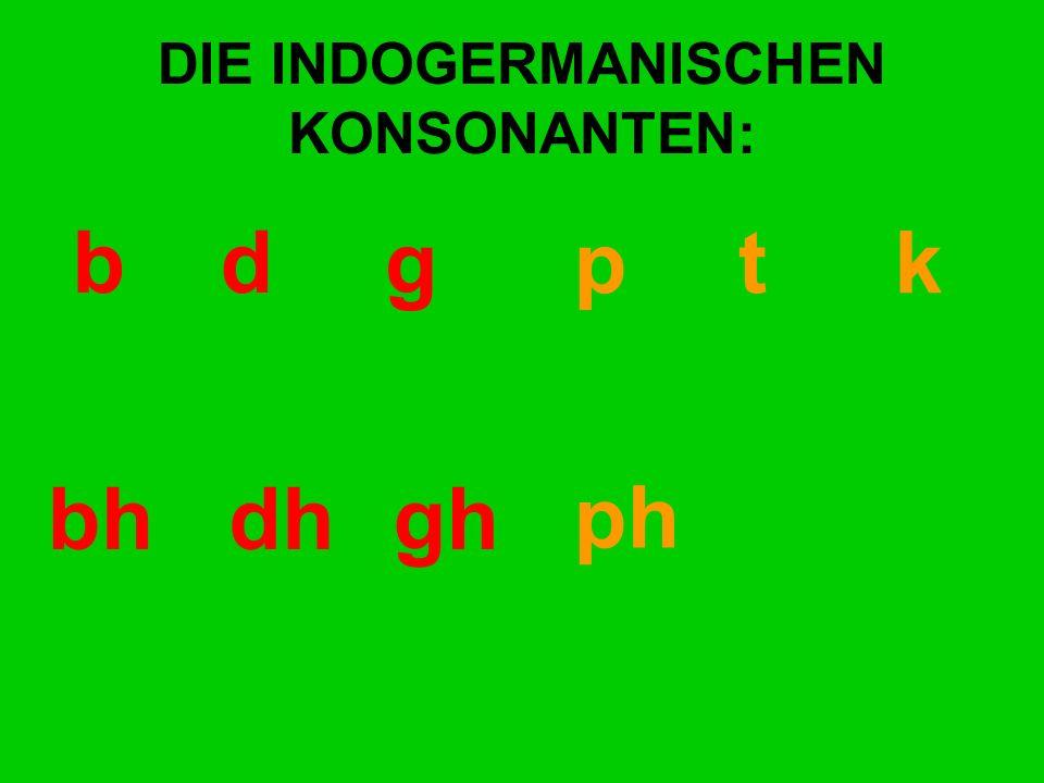 DIE INDOGERMANISCHEN KONSONANTEN: bd gp t k bhdhgh ph