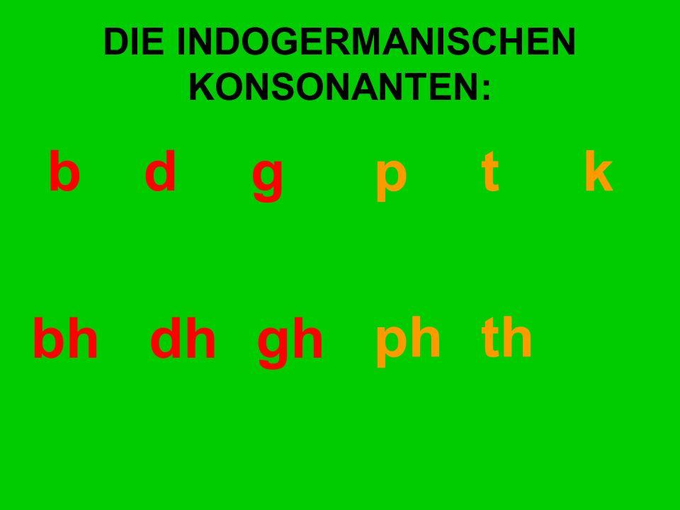 DIE INDOGERMANISCHEN KONSONANTEN: bd gp t k bhdhgh ph th kh