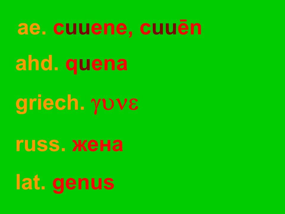 ae. cuuene, cuuēn ahd. quena lat. genus griech.  russ. жена