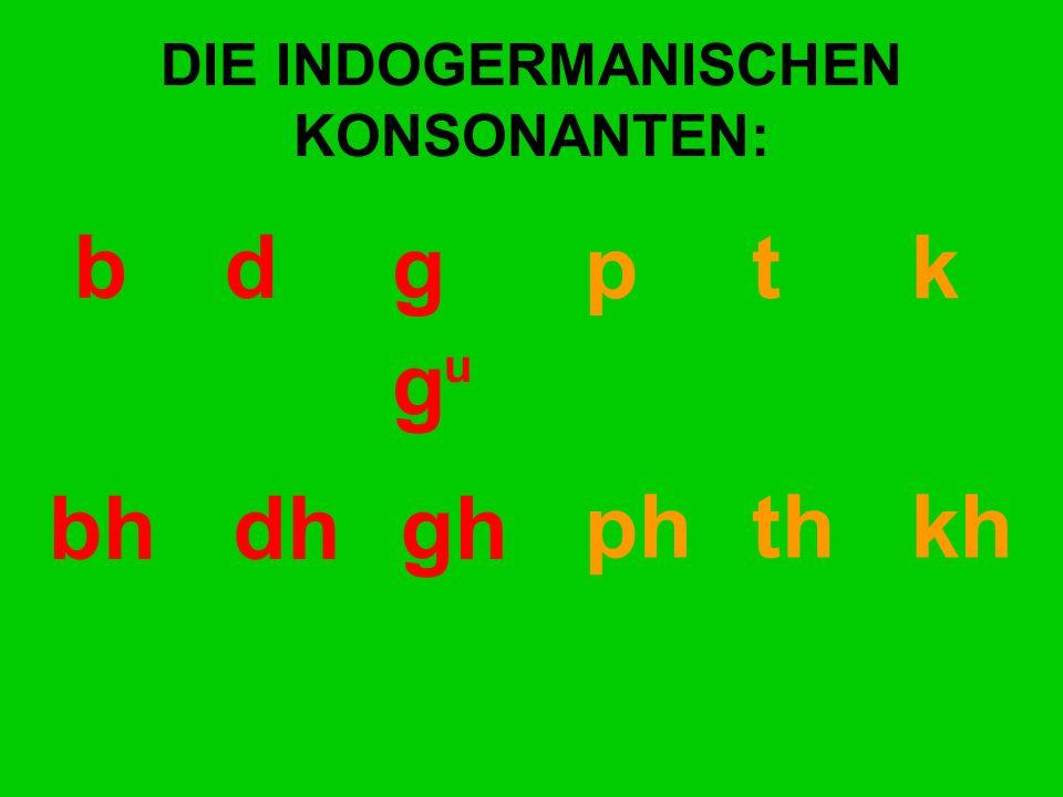 DIE INDOGERMANISCHEN KONSONANTEN: bd gp t k bhdhgh ph th kh g h g u u