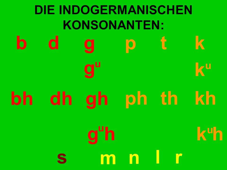 DIE INDOGERMANISCHEN KONSONANTEN: bd gp t k bhdhgh ph th kh g h k h g k u u u u s m n lr