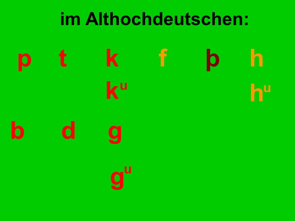 pt kf þ h k h u u im Althochdeutschen: bdg g u