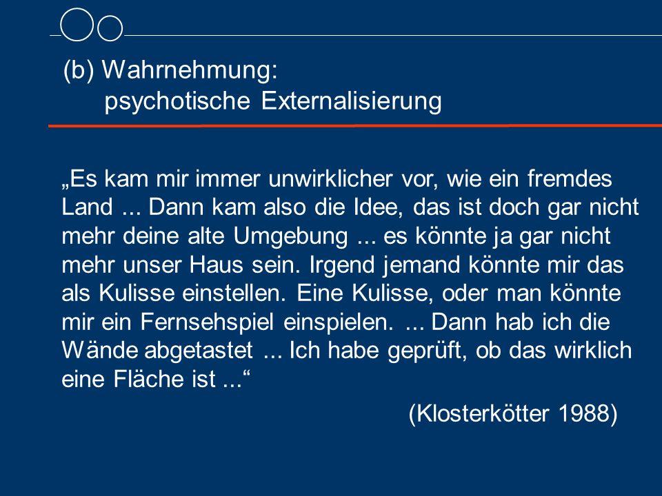 """(b) Wahrnehmung: psychotische Externalisierung """"Es kam mir immer unwirklicher vor, wie ein fremdes Land... Dann kam also die Idee, das ist doch gar ni"""