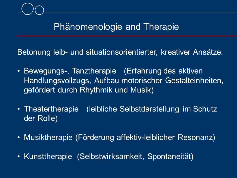 Phänomenologie and Therapie Betonung leib- und situationsorientierter, kreativer Ansätze: Bewegungs-, Tanztherapie (Erfahrung des aktiven Handlungsvol