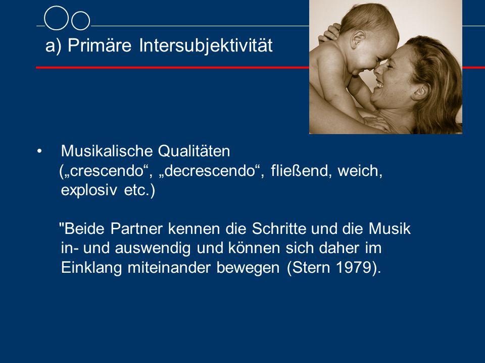 """a) Primäre Intersubjektivität Musikalische Qualitäten (""""crescendo"""", """"decrescendo"""", fließend, weich, explosiv etc.)"""