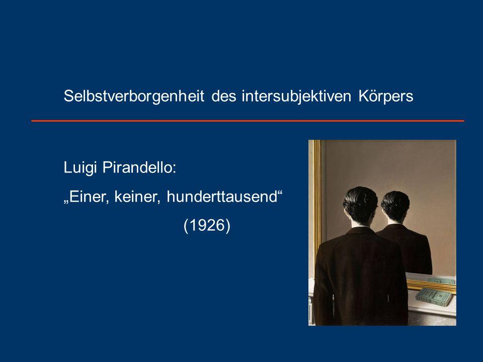 """Selbstverborgenheit des intersubjektiven Körpers Luigi Pirandello: """"Einer, keiner, hunderttausend (1926)"""