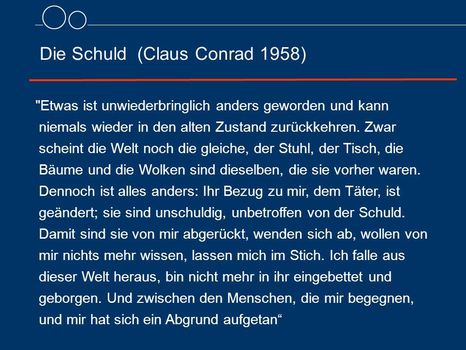 Die Schuld (Claus Conrad 1958) Etwas ist unwiederbringlich anders geworden und kann niemals wieder in den alten Zustand zurückkehren.