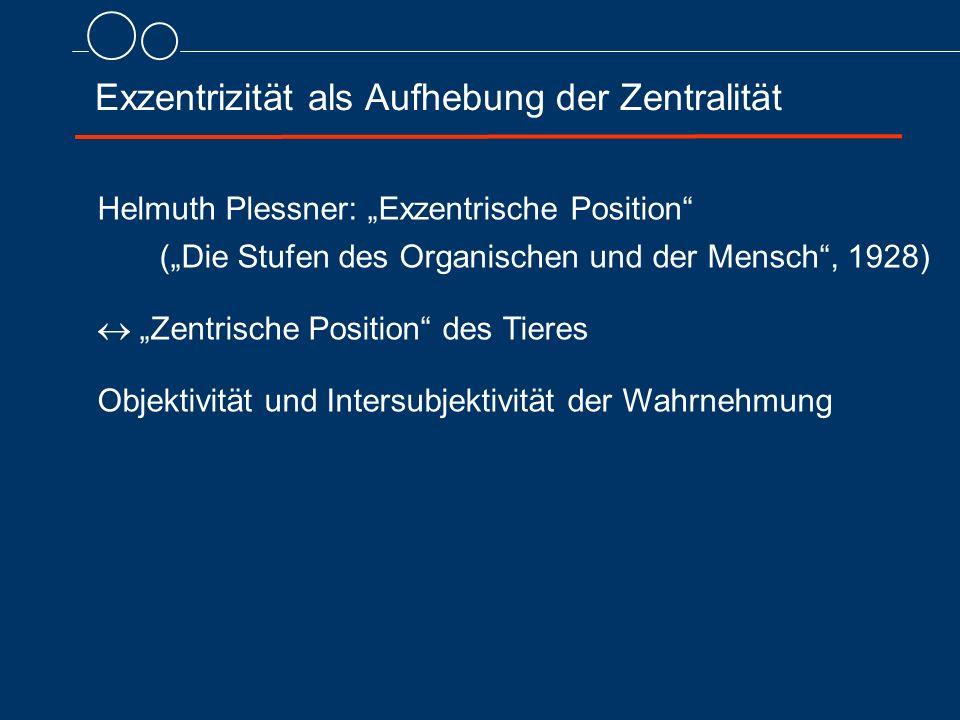 """Exzentrizität als Aufhebung der Zentralität Helmuth Plessner: """"Exzentrische Position (""""Die Stufen des Organischen und der Mensch , 1928)  """"Zentrische Position des Tieres Objektivität und Intersubjektivität der Wahrnehmung"""