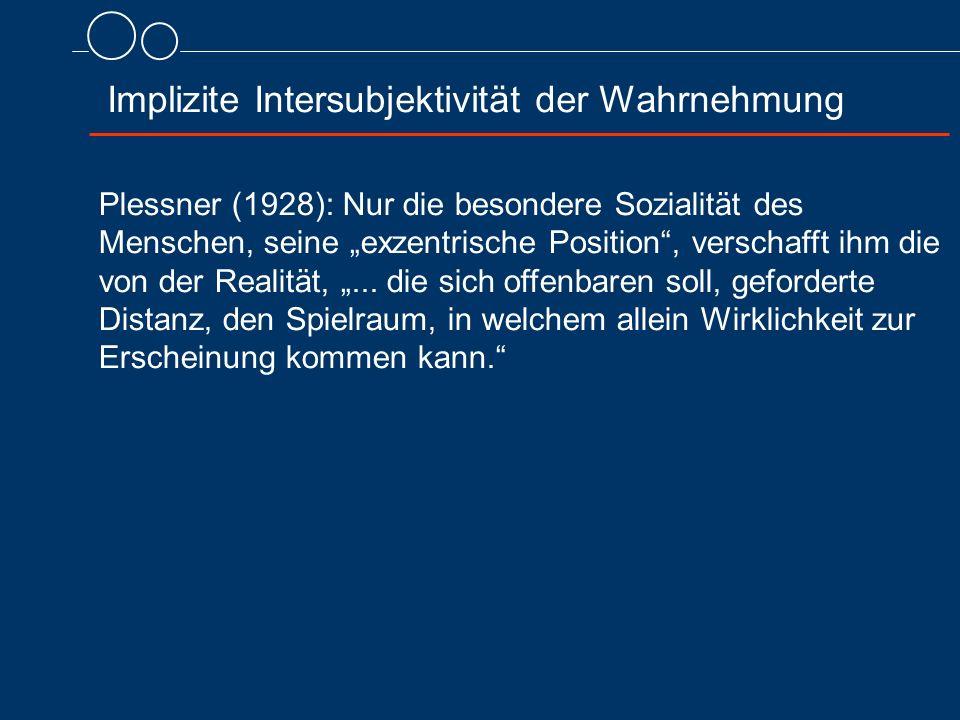 """Plessner (1928): Nur die besondere Sozialität des Menschen, seine """"exzentrische Position , verschafft ihm die von der Realität, """"..."""