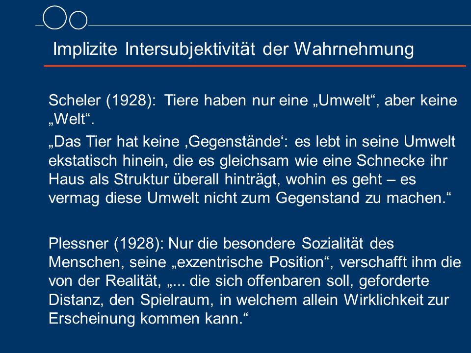 """Scheler (1928): Tiere haben nur eine """"Umwelt"""", aber keine """"Welt"""". """"Das Tier hat keine 'Gegenstände': es lebt in seine Umwelt ekstatisch hinein, die es"""