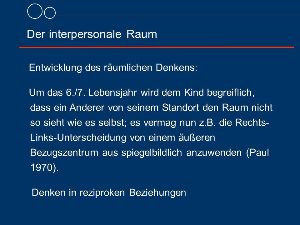 Der interpersonale Raum Entwicklung des räumlichen Denkens: Um das 6./7.