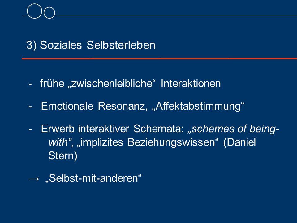 """3) Soziales Selbsterleben - frühe """"zwischenleibliche Interaktionen - Emotionale Resonanz, """"Affektabstimmung - Erwerb interaktiver Schemata: """"schemes of being- with , """"implizites Beziehungswissen (Daniel Stern) → """"Selbst-mit-anderen"""