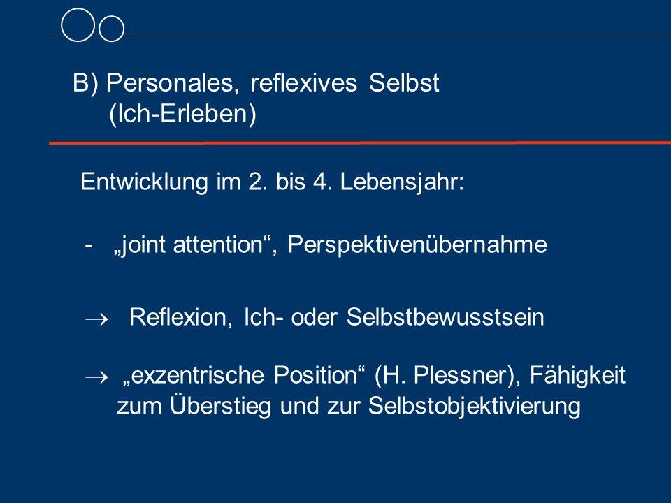 B) Personales, reflexives Selbst (Ich-Erleben) Entwicklung im 2.