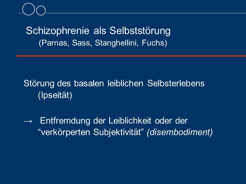 Schizophrenie als Selbststörung (Parnas, Sass, Stanghellini, Fuchs) Störung des basalen leiblichen Selbsterlebens (Ipseität) → Entfremdung der Leiblic