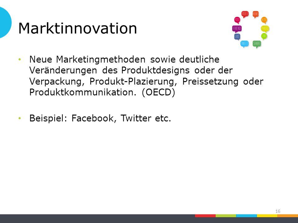 Marktinnovation Neue Marketingmethoden sowie deutliche Veränderungen des Produktdesigns oder der Verpackung, Produkt-Plazierung, Preissetzung oder Produktkommunikation.