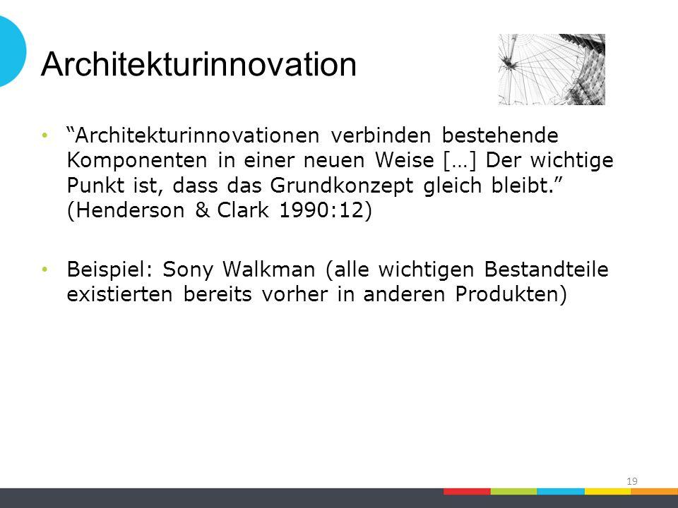 Architekturinnovation Architekturinnovationen verbinden bestehende Komponenten in einer neuen Weise […] Der wichtige Punkt ist, dass das Grundkonzept gleich bleibt. (Henderson & Clark 1990:12) Beispiel: Sony Walkman (alle wichtigen Bestandteile existierten bereits vorher in anderen Produkten) 19