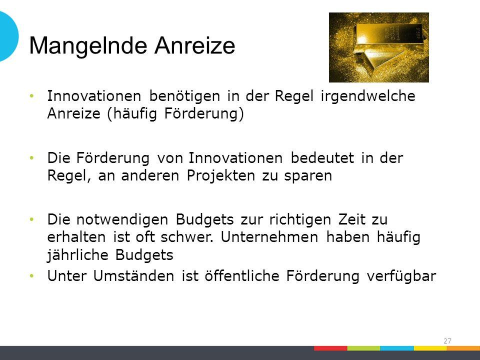 Mangelnde Anreize Innovationen benötigen in der Regel irgendwelche Anreize (häufig Förderung) Die Förderung von Innovationen bedeutet in der Regel, an anderen Projekten zu sparen Die notwendigen Budgets zur richtigen Zeit zu erhalten ist oft schwer.