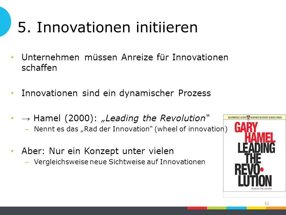 """5. Innovationen initiieren Unternehmen müssen Anreize für Innovationen schaffen Innovationen sind ein dynamischer Prozess → Hamel (2000): """"Leading the"""