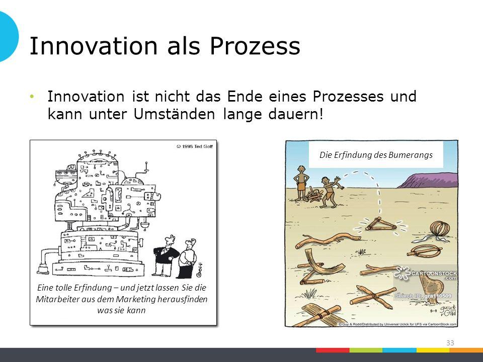 Innovation als Prozess Innovation ist nicht das Ende eines Prozesses und kann unter Umständen lange dauern.