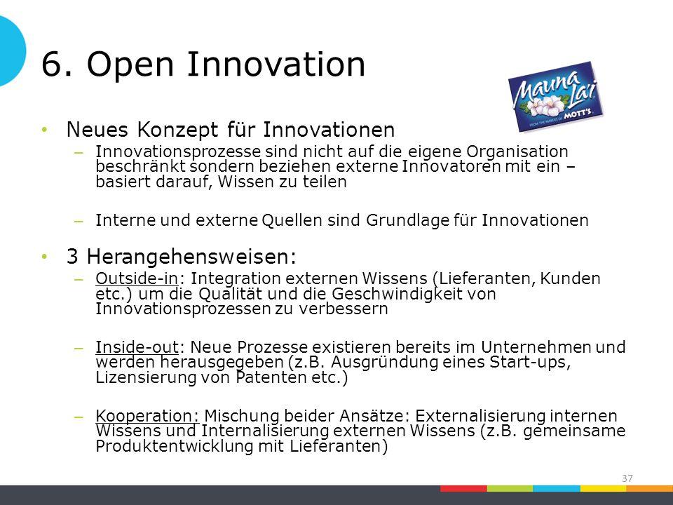 6. Open Innovation Neues Konzept für Innovationen – Innovationsprozesse sind nicht auf die eigene Organisation beschränkt sondern beziehen externe Inn