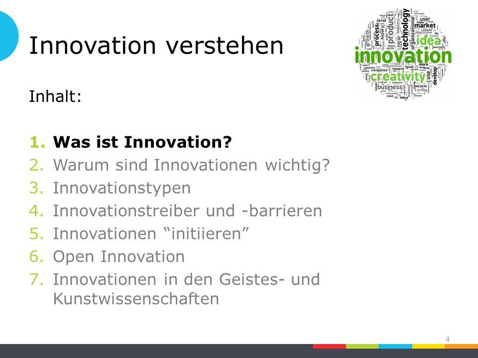 Innovation verstehen Inhalt: 1.Was ist Innovation.